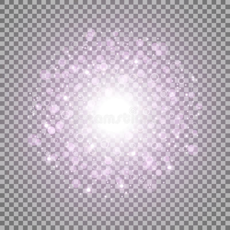 Lekki okrąg z dosts i iskrami, purpury barwi ilustracji