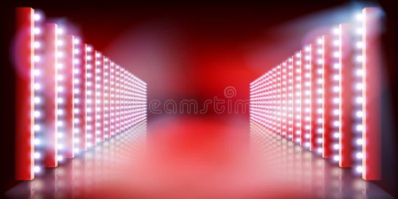 Lekki przedstawienie na scenie Czerwony chodnik r?wnie? zwr?ci? corel ilustracji wektora ilustracja wektor
