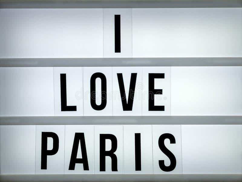 Lekki pudełko kocham Paryż obrazy stock