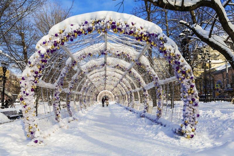 Lekki tunel na Tverskaya bulwarze w Moskwa fotografia royalty free