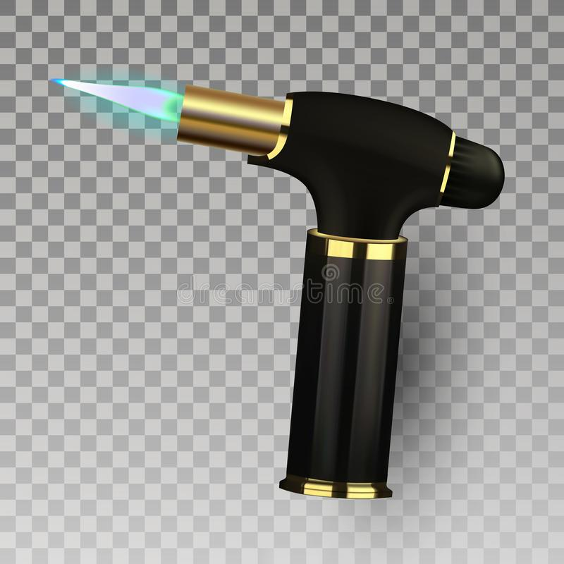 Lekki wektor Papierosu Lekki wyposażenie 3D Autogen zapalniczki Realistyczna ikona ilustracja royalty ilustracja