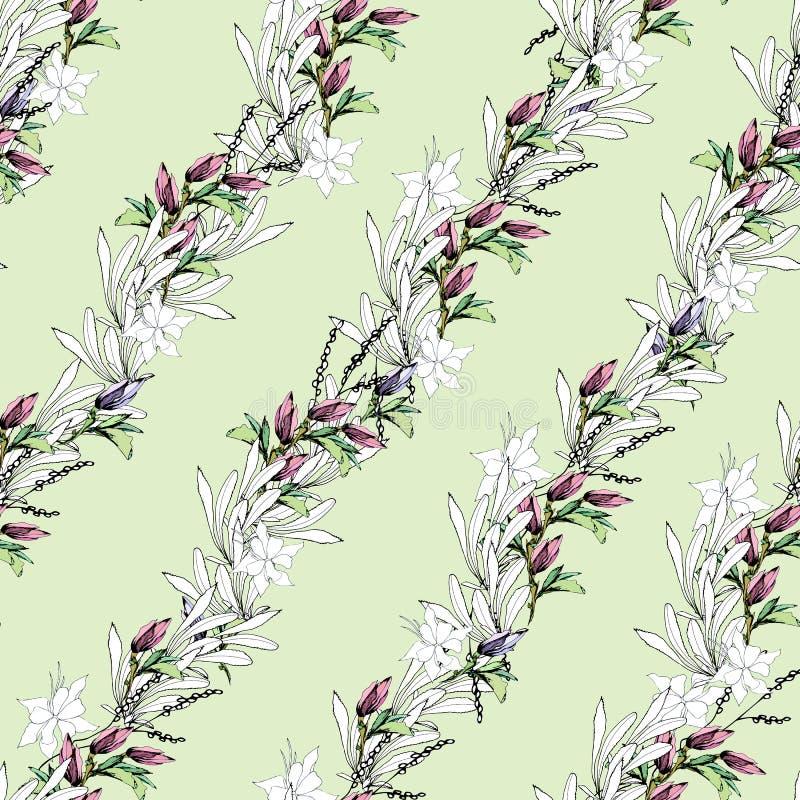 Lekki wzór liście z menchiami kwitnie na jasnozielonym tle Bezszwowy lato ornament rysujący ręcznie Rocznik tekstura dla ilustracji
