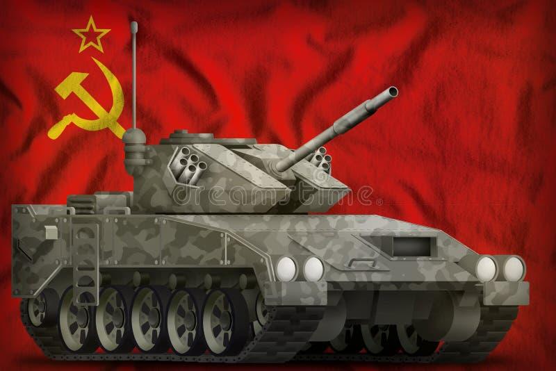 Lekki zbiornik apc z miasto kamuflażem na sowieci - zjednoczenie SSSR, USSR flaga państowowa tło 9 Maj, zwycięstwo dnia pojęcie 3 royalty ilustracja