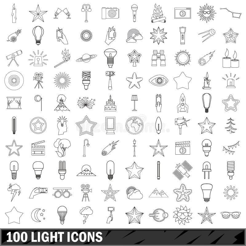 100 lekkich ikon ustawiających, konturu styl ilustracji