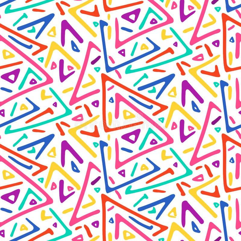 Lekkich kolorowych nakreślenie trójboków bezszwowy wzór ilustracji