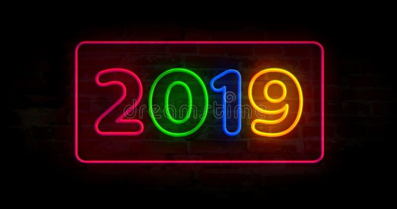 2019 lekkich neonowi ilustracja wektor