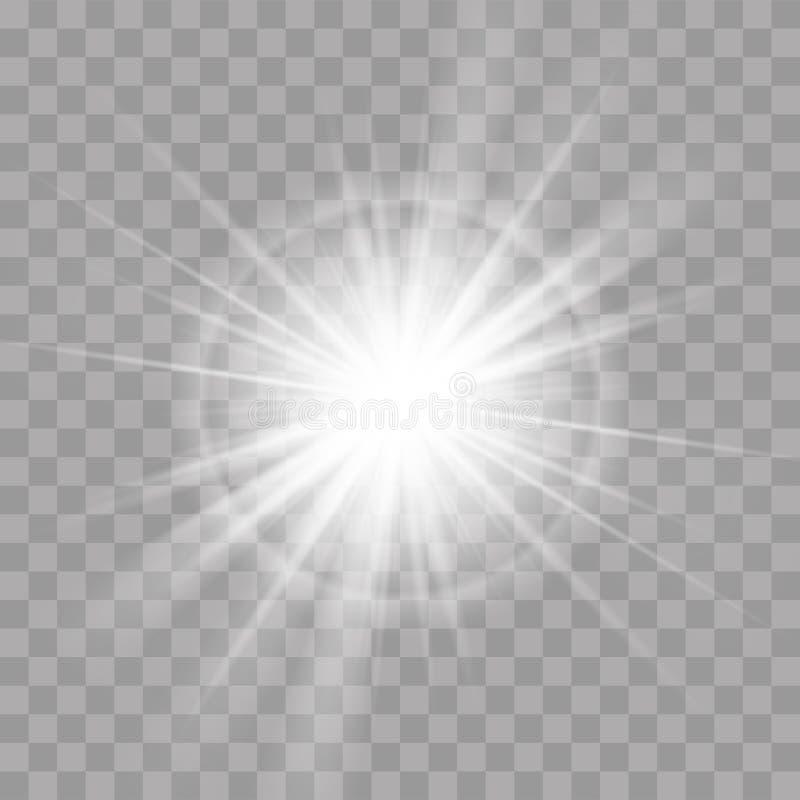 Lekkich promieni słońca gwiazdy promieniowania połysku błyskowy skutek royalty ilustracja