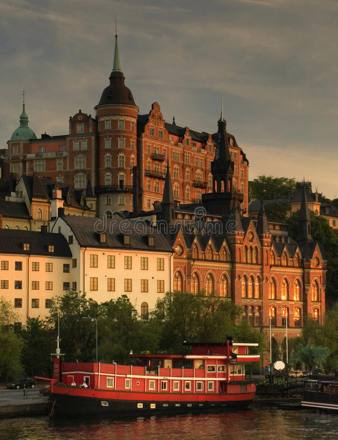 lekkie Stockholm sunset widok obrazy royalty free