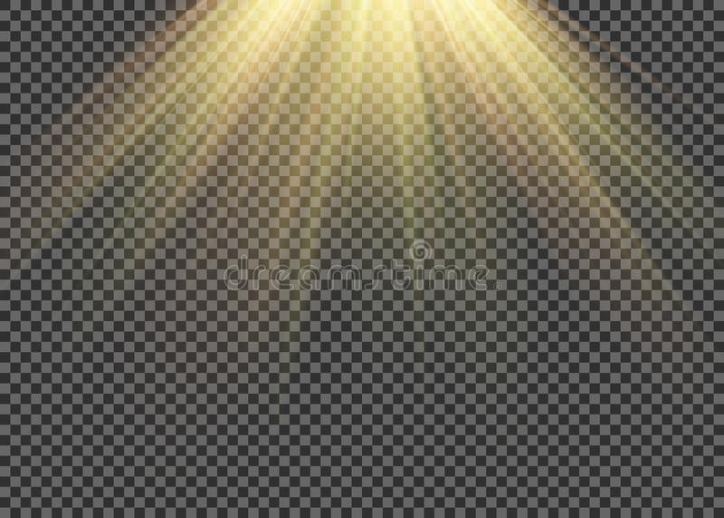 Lekkiego racy specjalny skutek z promieniami światło i magia błyska Jarzeniowy przejrzysty wektorowy lekkiego skutka set, wybuch, royalty ilustracja