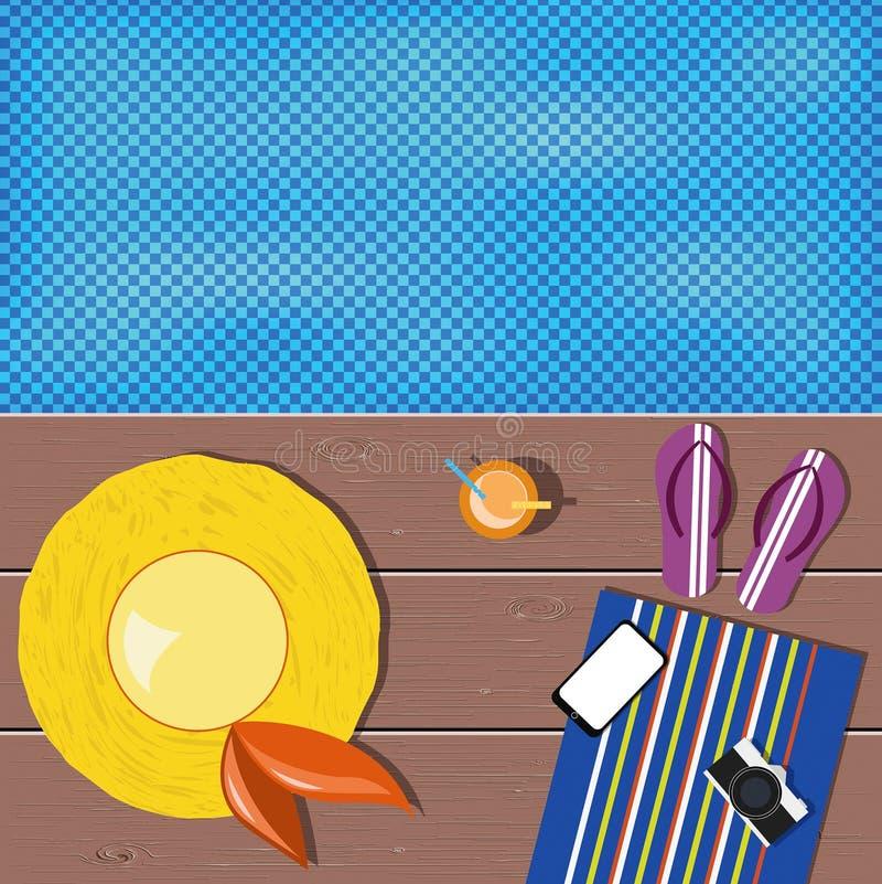 Lekmanna- design för lägenhet Plan designtrend Gul hatt, violetta badskor, mo stock illustrationer