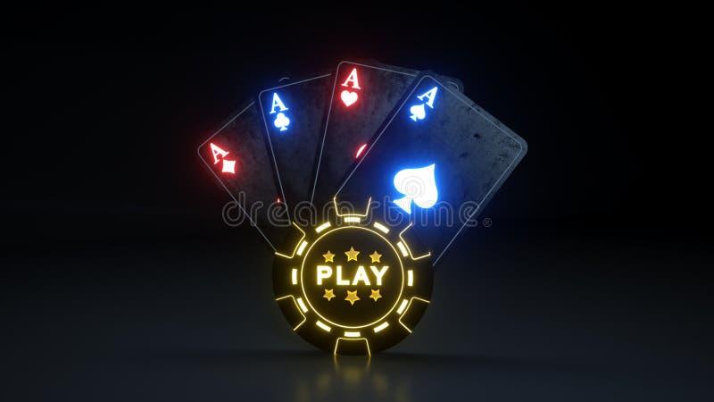 Lekonline-kasino som spelar pokerkortbegrepp med glödande neonljus som isoleras på den svarta bakgrunden - illustration 3D stock illustrationer