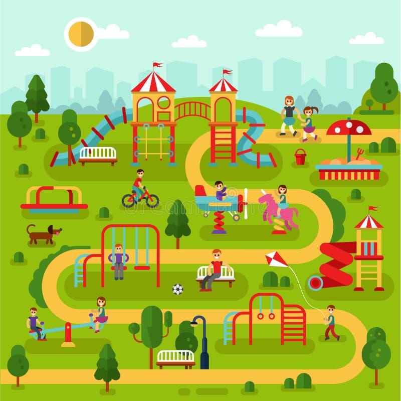Lekplats i parken stock illustrationer