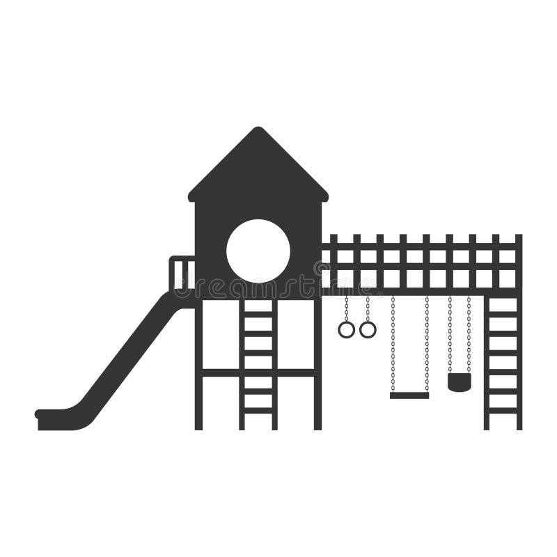 Lekplats med en glidbana och gungor stock illustrationer