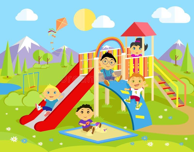 Lekplats med glidbanan och barn royaltyfri illustrationer