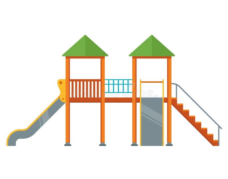 Lekplats med glidbanor komplex i gården stock illustrationer