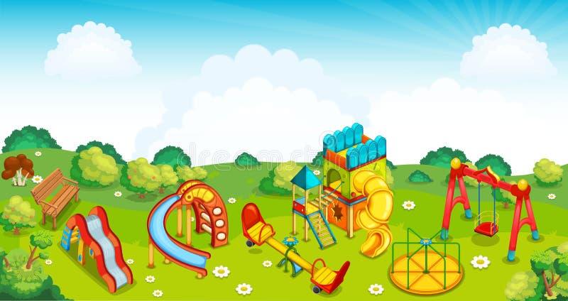 Lekplats på ängen vektor stock illustrationer
