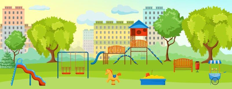 Lekplats på parkerasammansättningen stock illustrationer