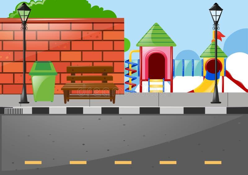 Lekplats på sidan av vägen royaltyfri illustrationer