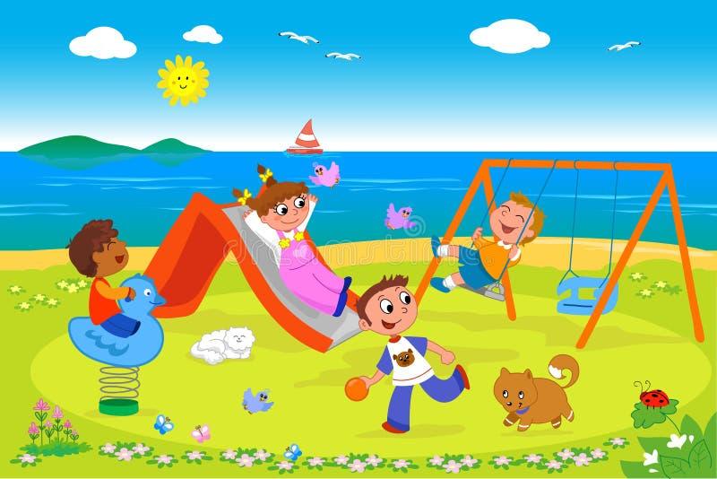 Lekplats på sjösidavektorn royaltyfri illustrationer