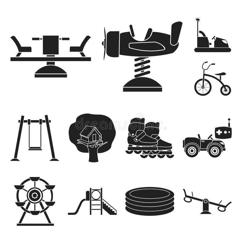 Lekplats svarta symboler för underhållning i uppsättningsamlingen för design Rengöringsduk för materiel för dragnings- och utrust stock illustrationer