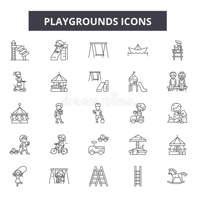 Lekplatser fodrar symboler, tecken, vektoruppsättningen, översiktsillustrationbegrepp vektor illustrationer