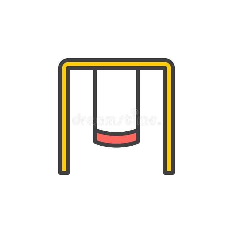 Lekplatsgungauppsättningen fyllde översiktssymbolen, linjen vektortecknet, linjär färgrik pictogram royaltyfri illustrationer