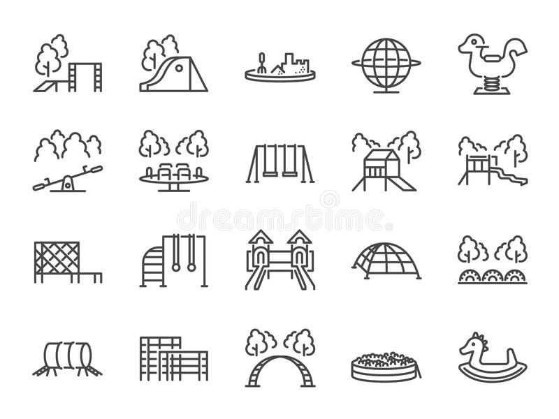 Lekplatssymbolsuppsättning Inklusive symboler som lurar den utomhus- leksaken, sandlådan, barn parkerar, glider, apastången, kupo stock illustrationer