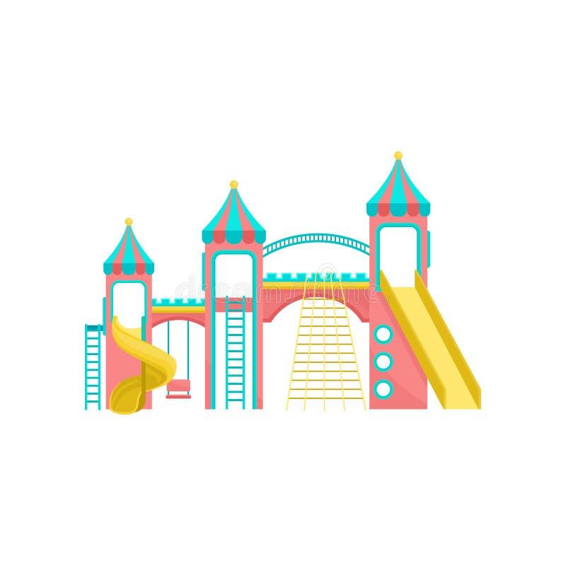 Lekplatsutrustning, gunga som upp klättrar stegen, glidbana, illustration för nöjesfältbeståndsdelvektor på en vit bakgrund royaltyfri illustrationer
