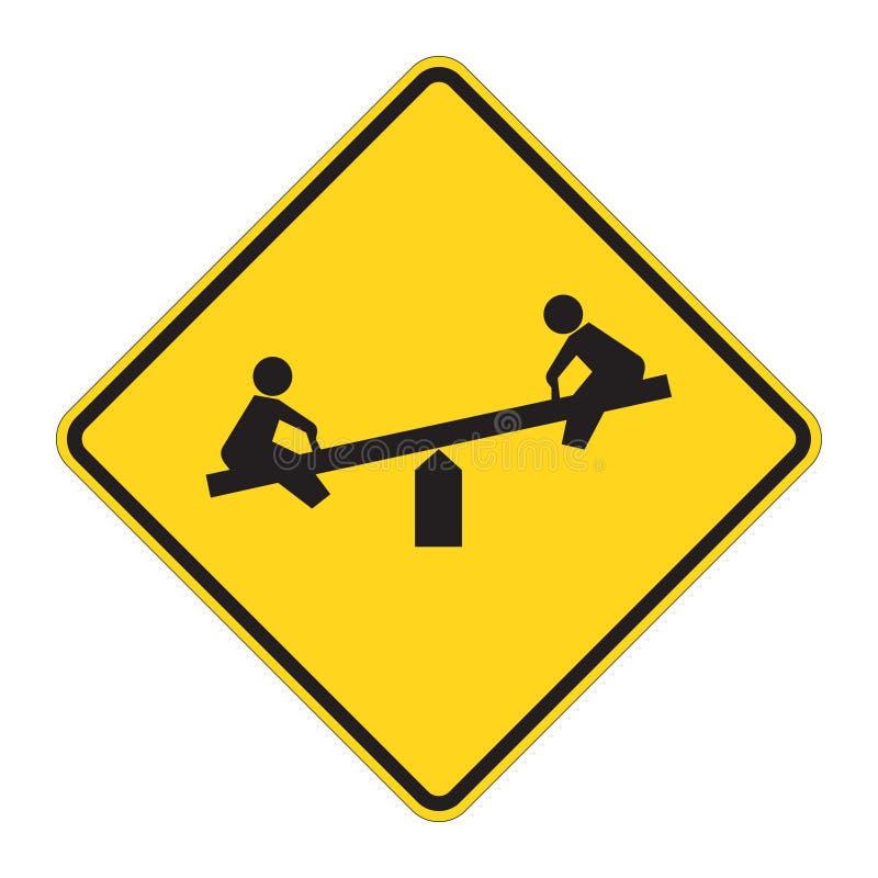 lekplatsvägmärkevarning royaltyfri illustrationer