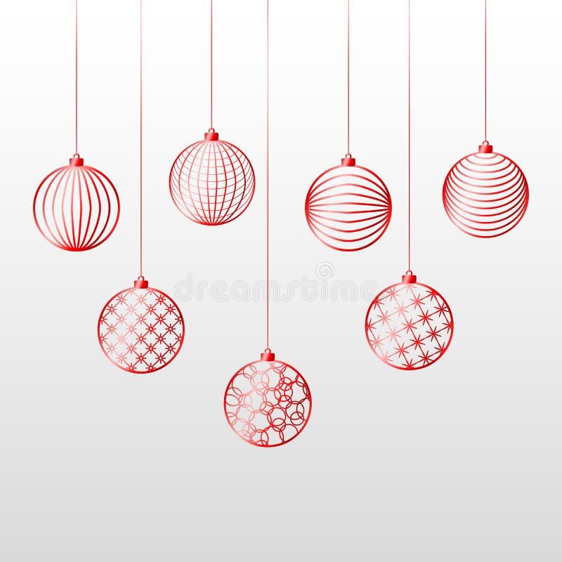 Leksak för boll för julbakgrund röd på en festlig bakgrund för blå bakgrund för jul och modell för nytt år av röd linjeleksakboll stock illustrationer