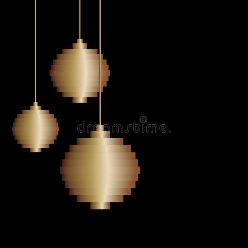 Leksak för boll för julgran för konst för tre PIXEL för vektor guld- Minimalismdesign Jul bakgrund, hälsningkort royaltyfri illustrationer