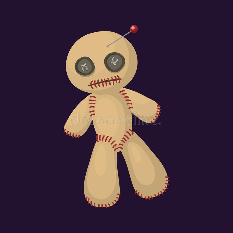 Leksak för ilska för andlighet för tecken för bestraffning för symbol för voodoodockalägenhet magisk och vektor för symbol för fa vektor illustrationer