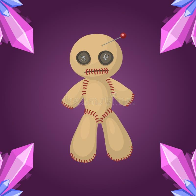 Leksak för ilska för andlighet för tecken för bestraffning för symbol för voodoodockalägenhet magisk och vektor för symbol för fa royaltyfri illustrationer