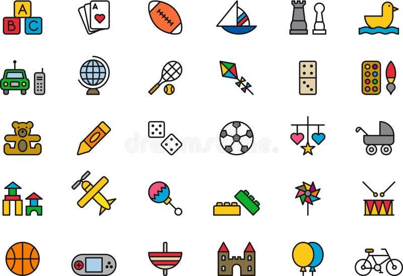 Leksak- och leksymboler stock illustrationer