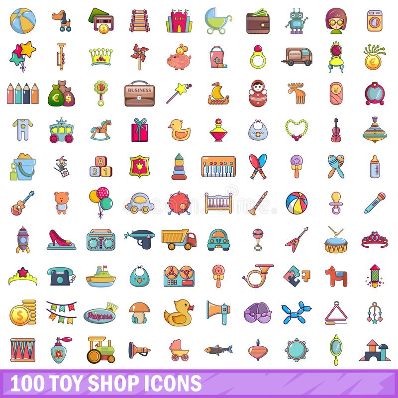 leksak 100 shoppar symboler uppsättningen, tecknad filmstil royaltyfri illustrationer