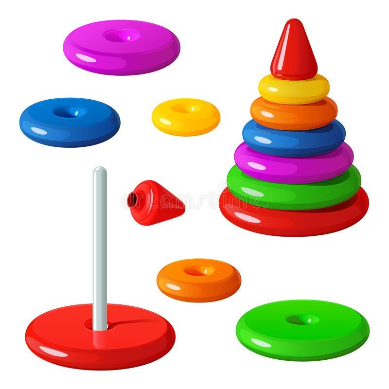 Leksaken är en pyramid som göras av släta plast- cirklar, strängt på en stång, med en röd kotte upptill Församlat och demontert royaltyfri illustrationer
