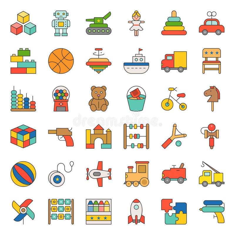 Leksaken för barn och behandla som ett barn symbolsuppsättning 1/3 vektor illustrationer