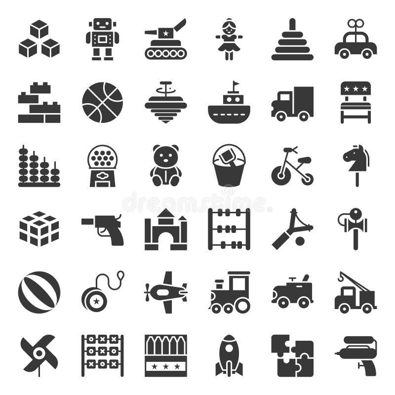 Leksaken för barn och behandla som ett barn symbolsuppsättningen, fast symbol royaltyfri illustrationer