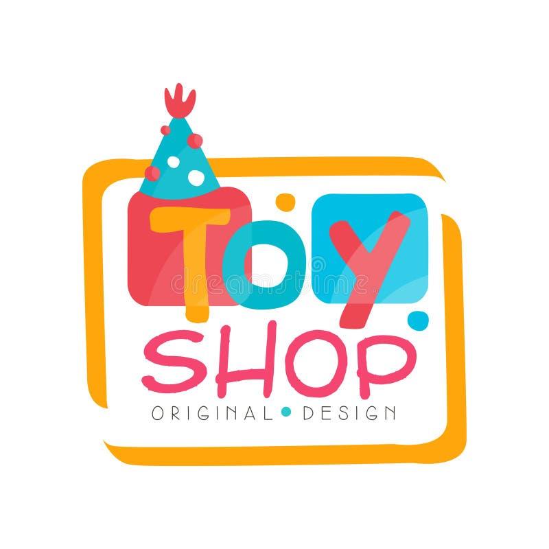 Leksaken shoppar den original- designen för logoen, ungelager, behandla som ett barn illustrationen för marknadsemblemvektorn på  vektor illustrationer