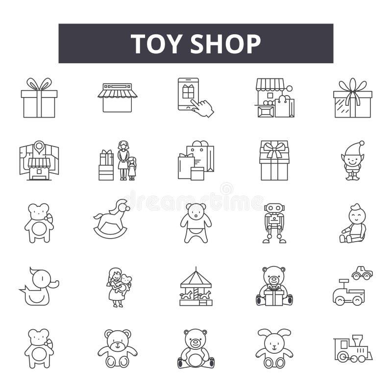 Leksaken shoppar linjen symboler, tecken, vektoruppsättningen, det linjära begreppet, översiktsillustration vektor illustrationer