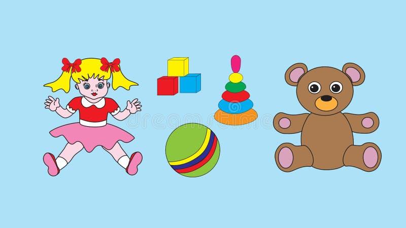 Leksaker för barn` s: en docka, en nallebjörn, en boll, kuber och en pyram royaltyfri illustrationer