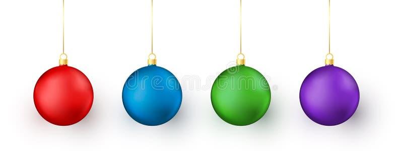 Leksaker för färgrik jul och för nytt år på vit bakgrund Röd och blå, grön och purpurfärgad traditionell feriegarneringbeståndsde vektor illustrationer