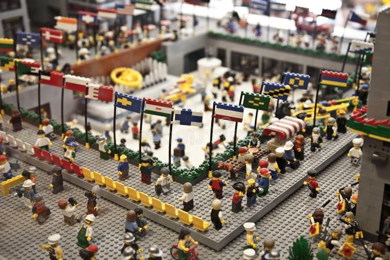 Leksaker för Lego konstruktionsstad i det Lego lagret i Manhattan royaltyfri bild