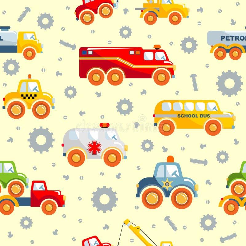 Leksaker transporterar den sömlösa modellen vektor illustrationer