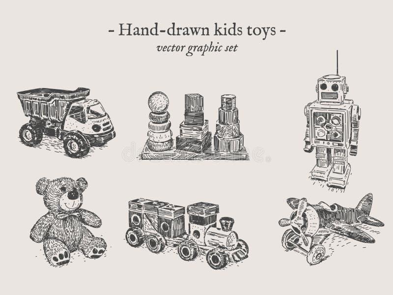 Leksakhand-teckning uppsättning royaltyfri illustrationer