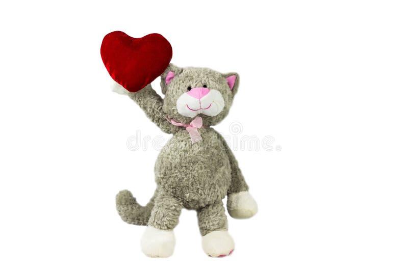 Leksakkatt som rymmer en hjärta valentin för dag s arkivbild