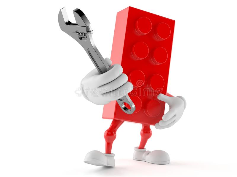 Leksakkvartertecken som rymmer den justerbara skiftnyckeln royaltyfri illustrationer