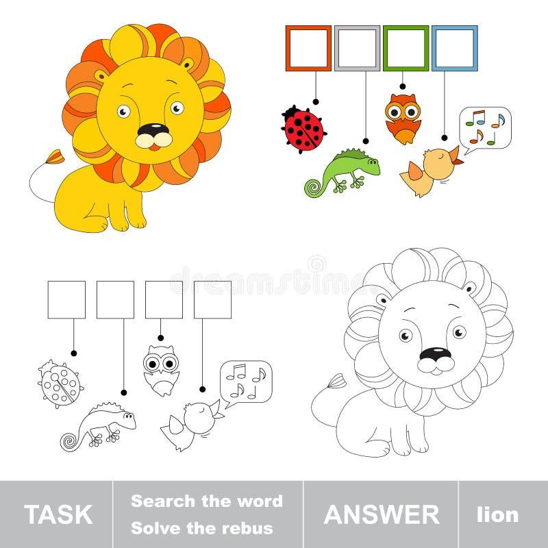 Leksaklejon Vad är det dolde ordet Uppgift och svar vektor illustrationer