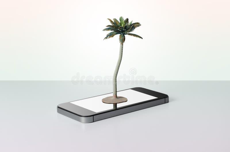 Leksakpalmträd på en smart telefon arkivbild