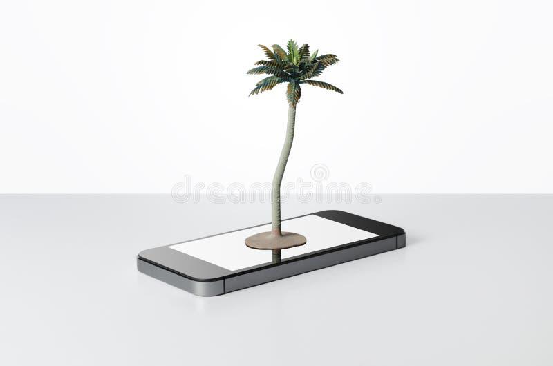 Leksakpalmträd på en smart telefon royaltyfria foton